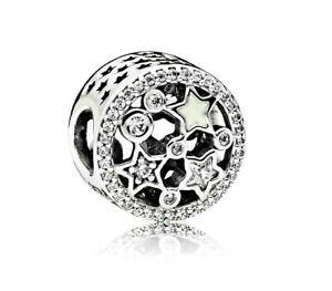 Korálka štýl Pandora okrúhla s bielymi a striebornými hviezdičkami