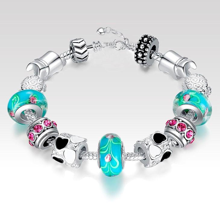 Dámsky náramok štýl Pandora s modrými korálkami