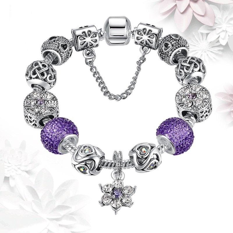 Strieborno - fialový náramok štýl Pandora s visiacim kvetom
