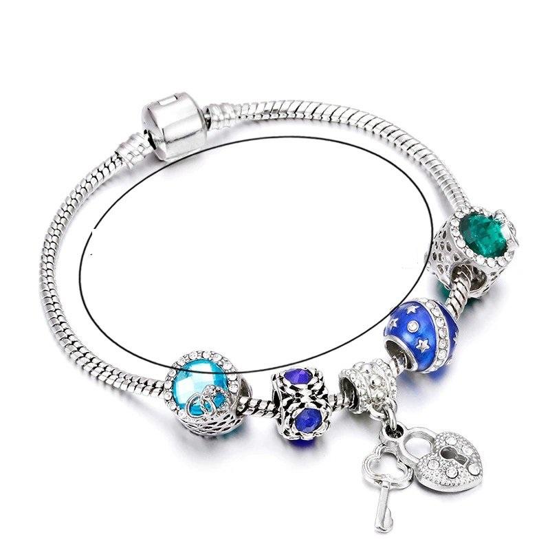 Dámsky náramok štýl Pandora s príveskom kľúč k srdcu