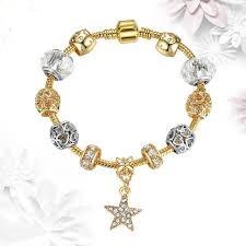 Dámsky náramok štýl Pandora zlatý s príveskom hviezdy