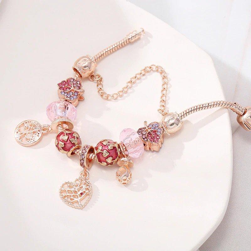 Dámsky ružovo - zlatý náramok štýl Pandora so stromom života