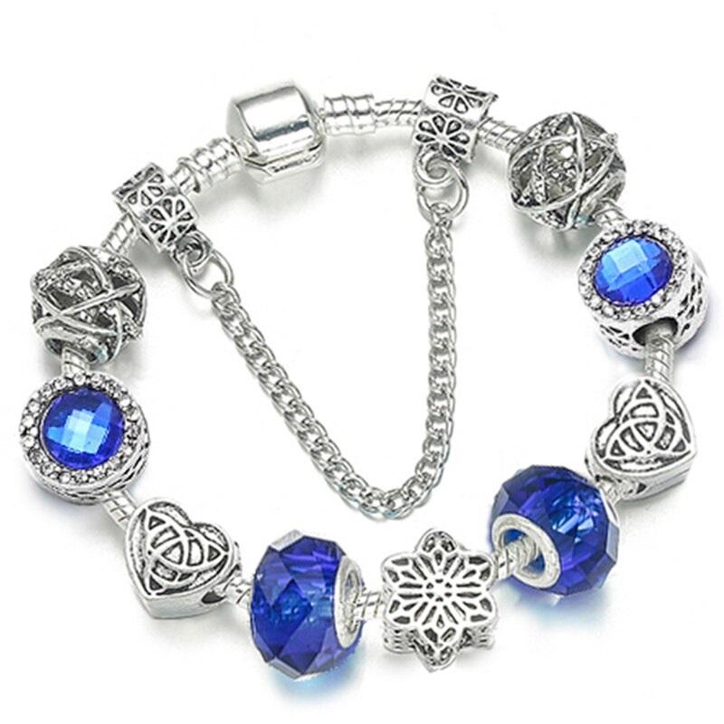 Dámsky strieborný náramok štýl Pandora s výraznými modrými korálkami