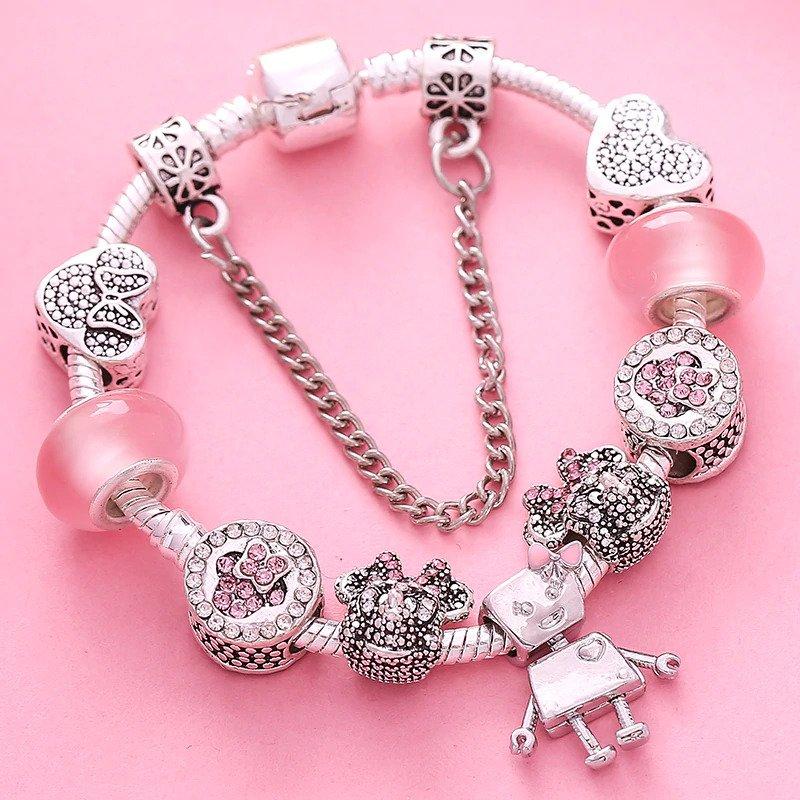 Dievčenský náramok štýl Pandora Disney ružový s Minie