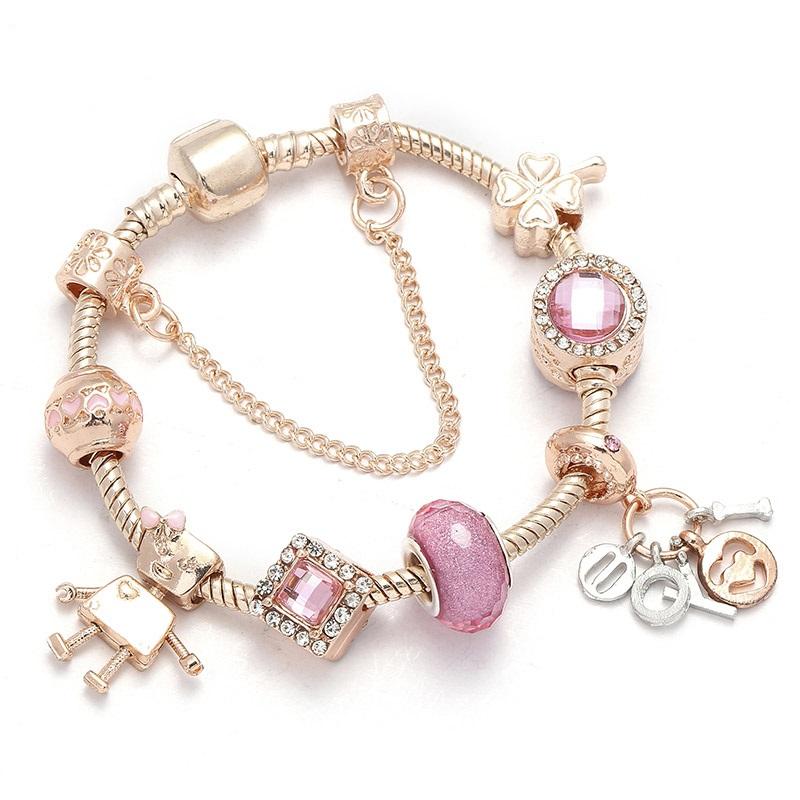 Ružovo zlatý náramok štýl Pandora s ružovými korálkami
