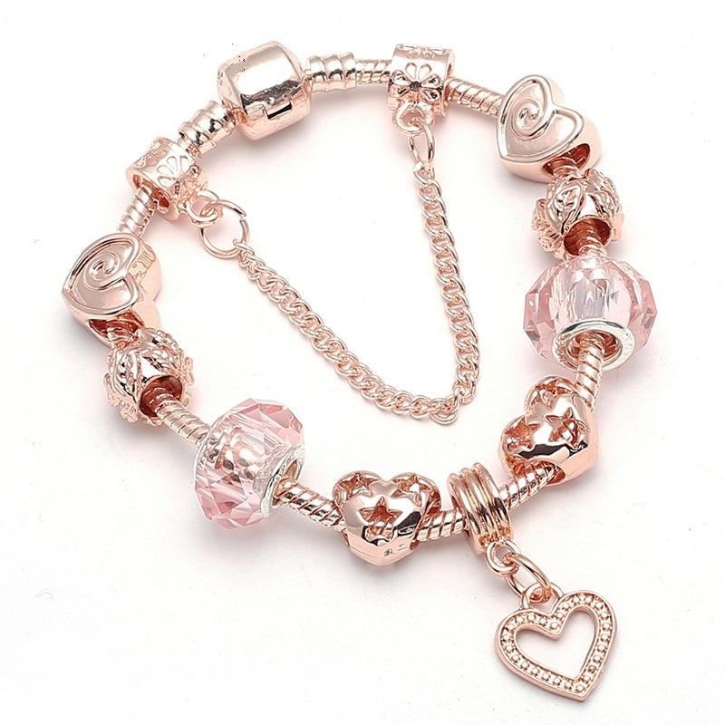 Ružovo zlatý náramok štýl Pandora s korálkami v tvare srdca a visiacim srdiečkom 17 cm, 18 cm, 19 cm