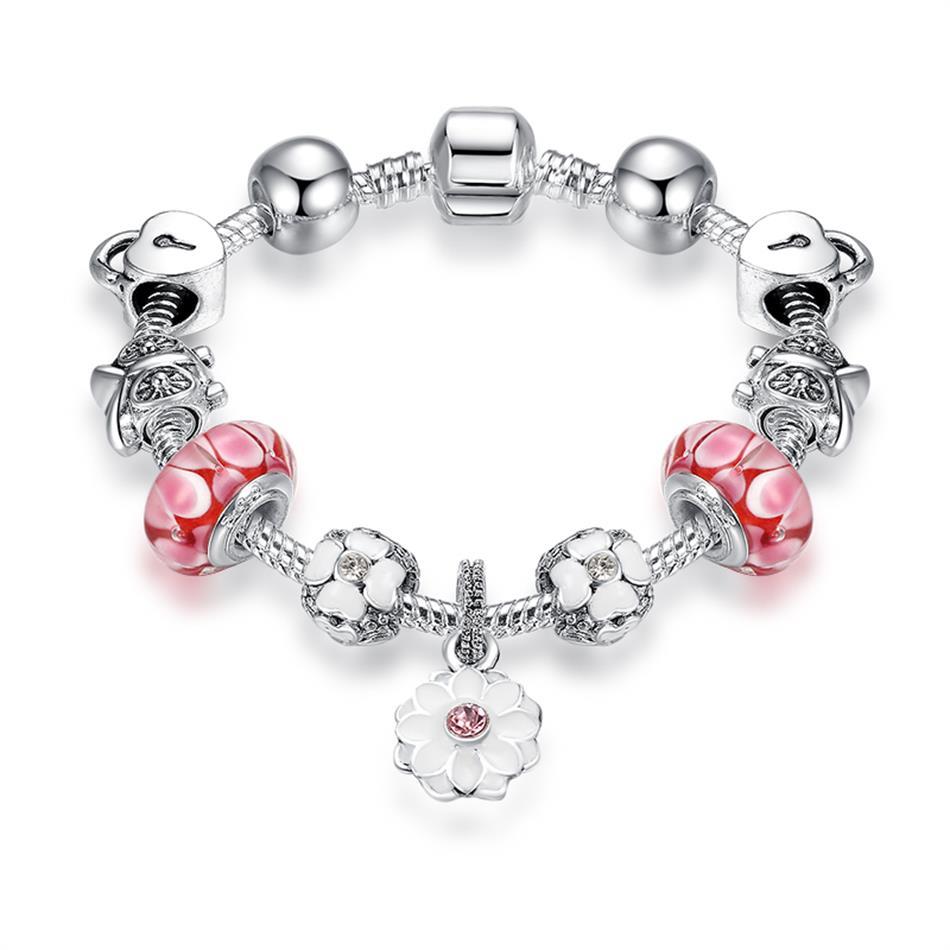 Strieborný náramok štýl Pandora s ružovými korálkami a s visiacim kvetom
