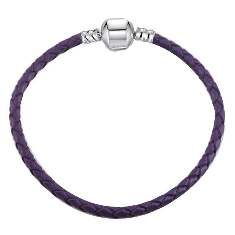 Jednoduchý kožený náramok štýl Pandora fialový