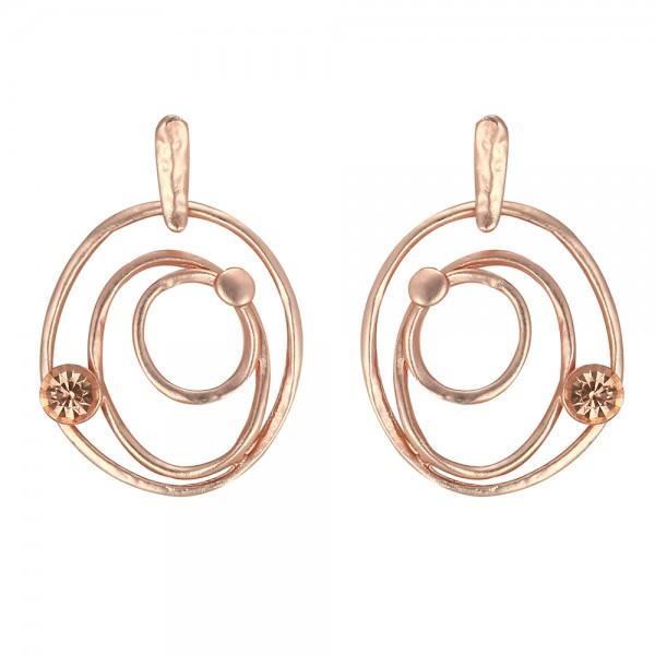 Ružovo - zlaté náušnice v tvare trojitého stočeného kruhu