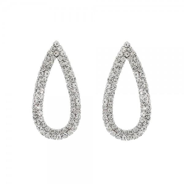 Strieborné diamantové náušnice v tvare slzy
