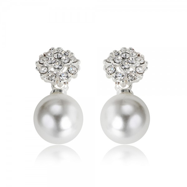 Jemné perlové postriebrené náušnice so zirkónmi