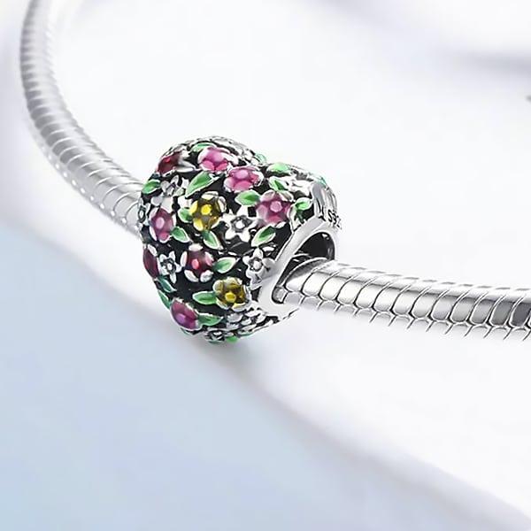 Pestrofarebná strieborná 925 korálka štýl Pandora Flowery Heart