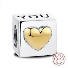 Strieborná 925 korálka štýl Pandora - kocka so srdcom