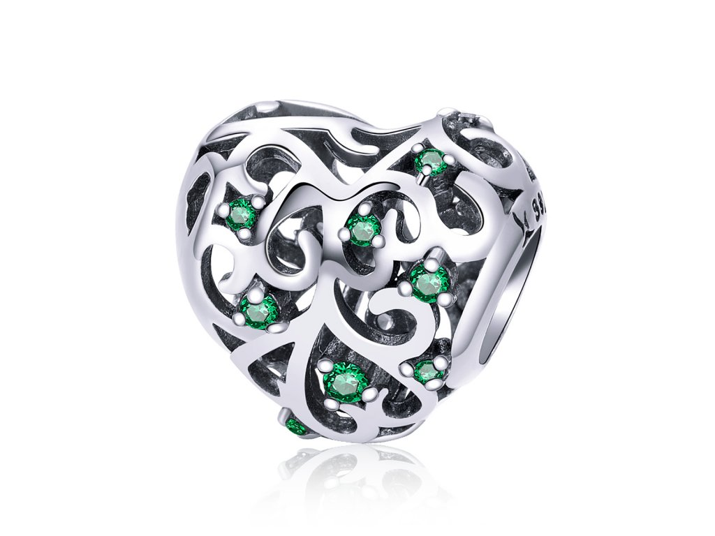 Strieborná 925 korálka štýl Pandora - smaragdové srdce