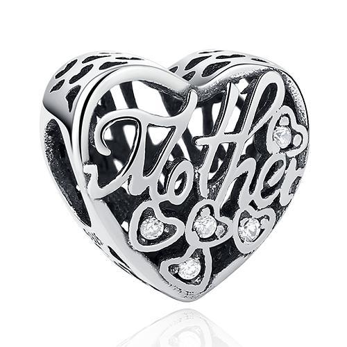 Strieborná 925 korálka štýl Pandora - srdce MOTHER