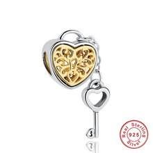 Strieborná 925 korálka štýl Pandora - srdce s kľúčikom