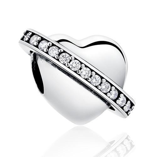 Strieborná 925 korálka štýl Pandora - zirkónové srdce
