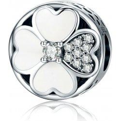 Strieborná 925 korálka štýl Pandora Biely kvet