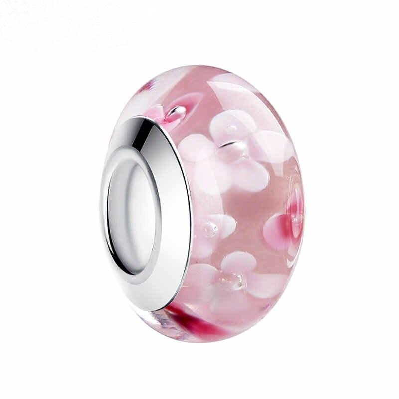 Strieborná 925 korálka štýl Pandora Murano sklo - ružová