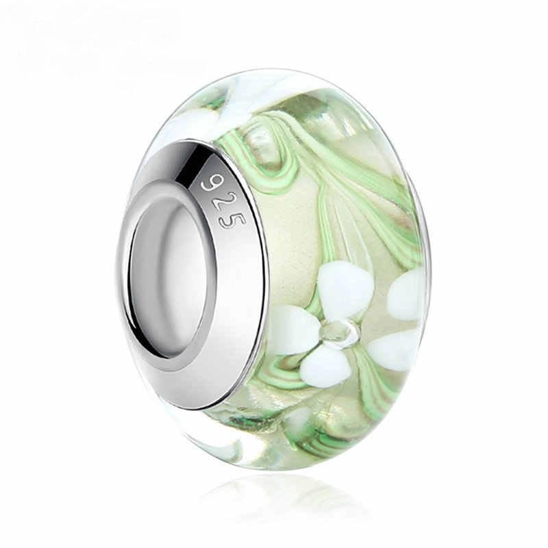 Strieborná 925 korálka štýl Pandora Murano sklo - zelená