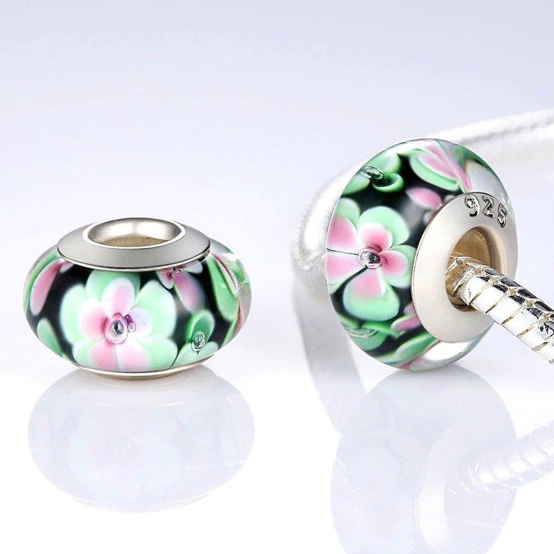 Strieborná 925 korálka štýl Pandora Murano sklo ružovo - zelené kvety