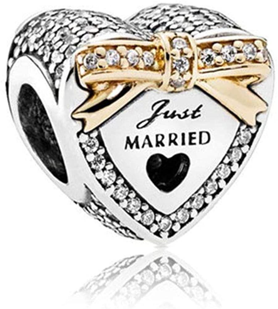 Strieborná 925 korálka štýl Pandora Srdce Just Married