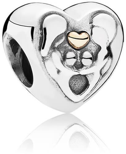 Strieborná 925 korálka štýl Pandora Srdce pre rodinu