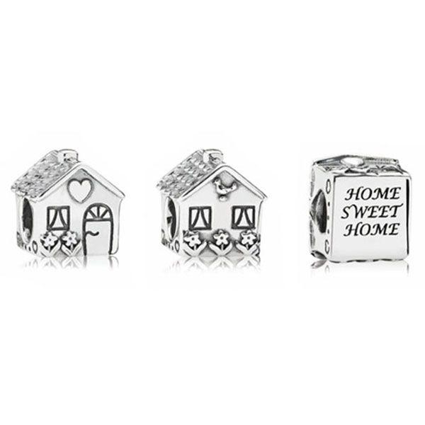 Strieborná 925 korálka štýl Pandora v tvare rodinného domčeka a nápisom Home Sweet Home