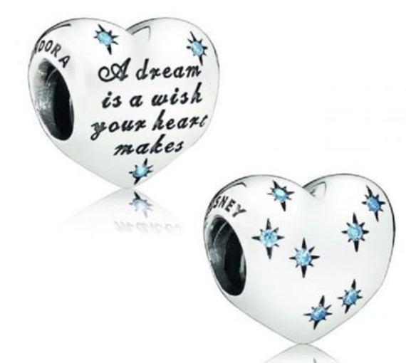 Strieborná 925 korálka štýl Pandora Srdce s modrými hviezdami