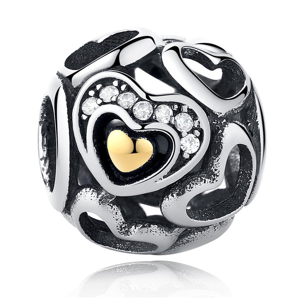 Strieborná 925 korálka štýl Pandora v tvare guľky so srdiečkami