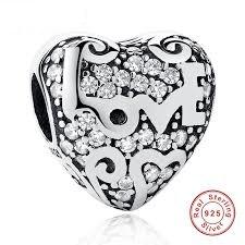 Strieborná 925 korálka štýl Pandora- ružové srdce LOVE