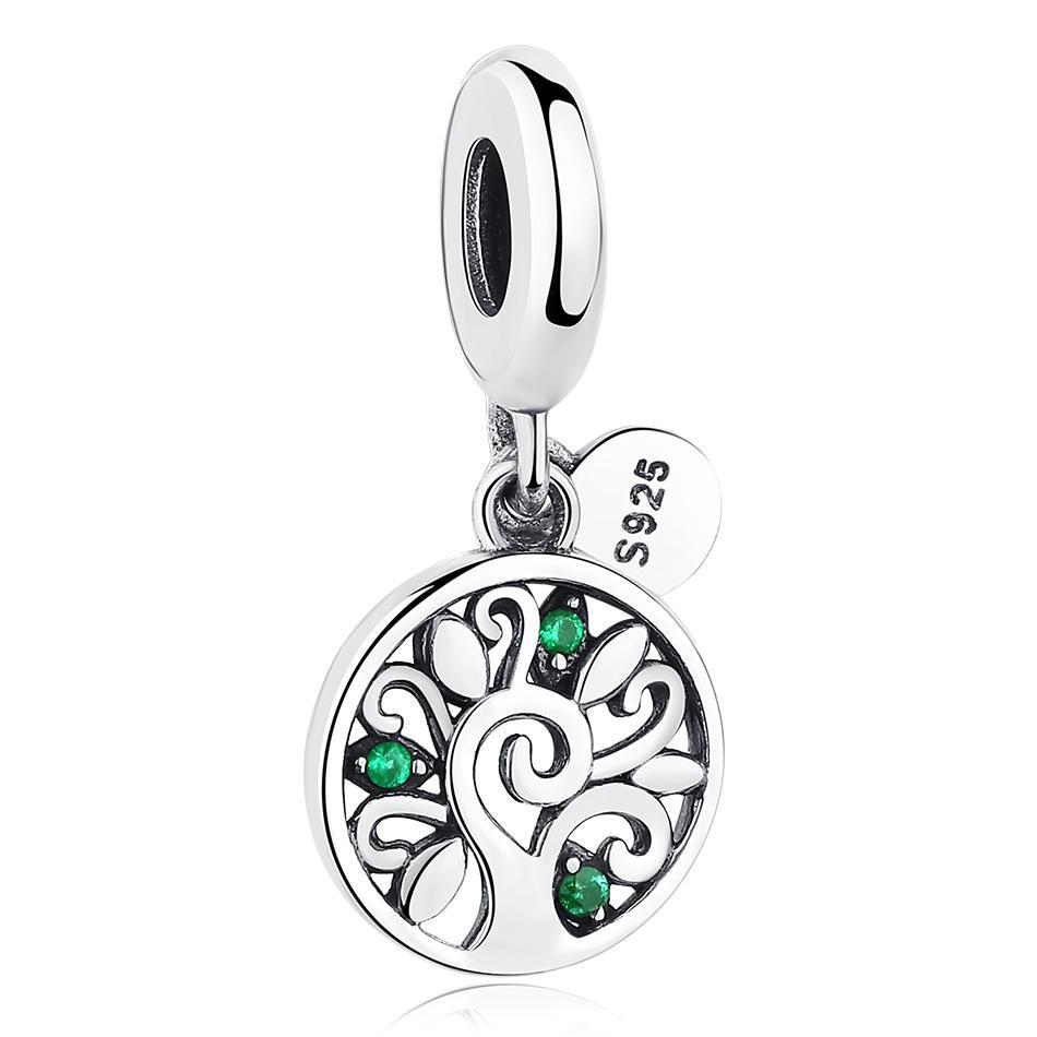 Strieborná 925 korálka štýl Pandora okrúhly prívesok so stromom života a smaragdovými lístkami