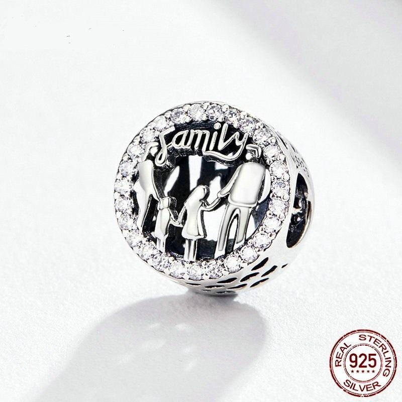 Strieborná 925 okrúhla korálka štýl Pandora s motívom rodiny a nápisom Family