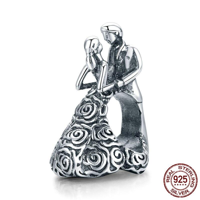 Strieborná 925 korálka štýl Pandora Mladomanželia
