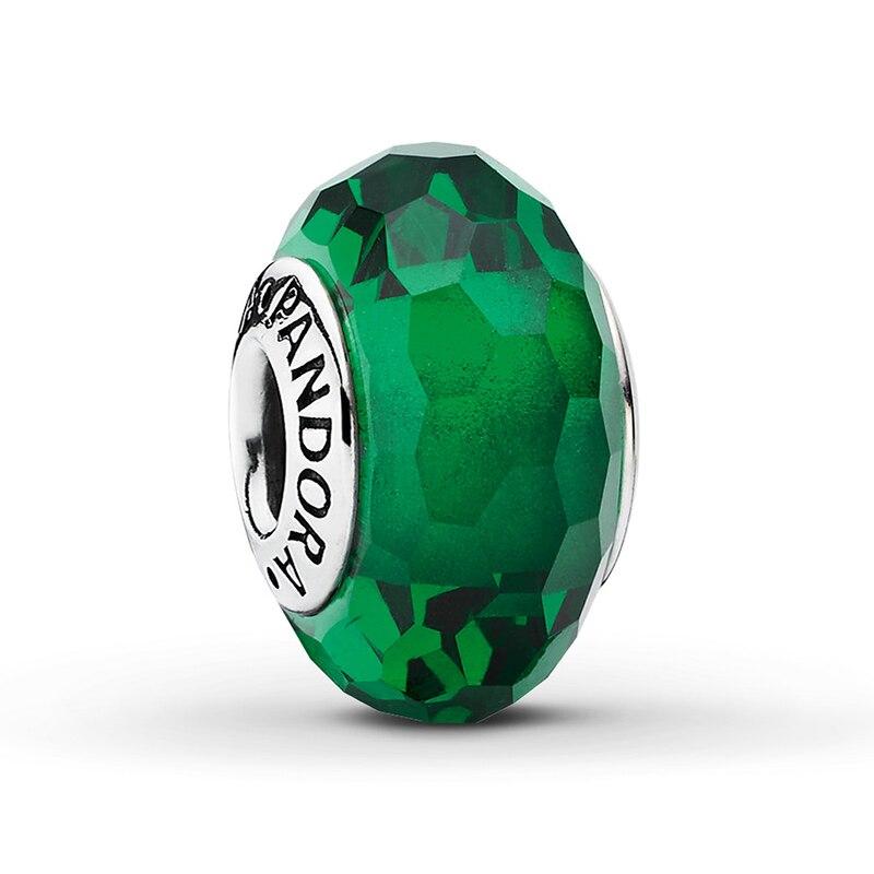 Strieborná 925 korálka štýl Pandora Murano sklo smaragdové