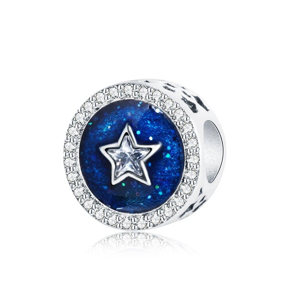 Strieborná 925 korálka štýl Pandora Hviezda na modrej oblohe