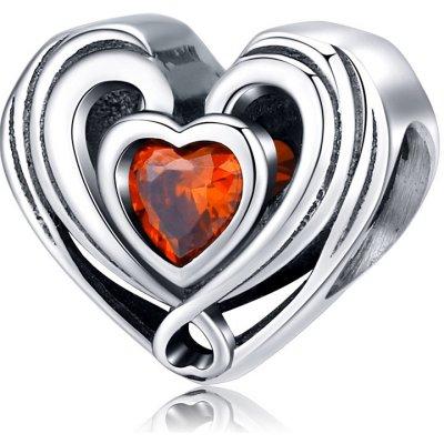 Strieborná 925 korálka štýl Pandora Srdce so zirkónom
