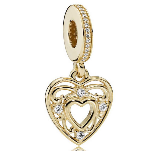 Strieborná 925 korálka štýl Pandora - prívesok zlaté srdce