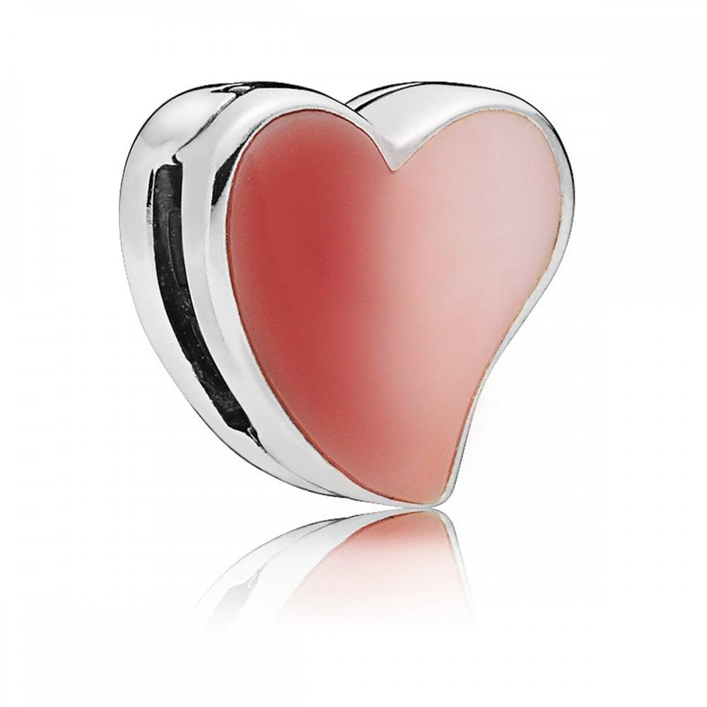 Strieborná 925 korálka štýl Pandora Reflections v tvare srdca v lesklej striebornej a červenej farbe