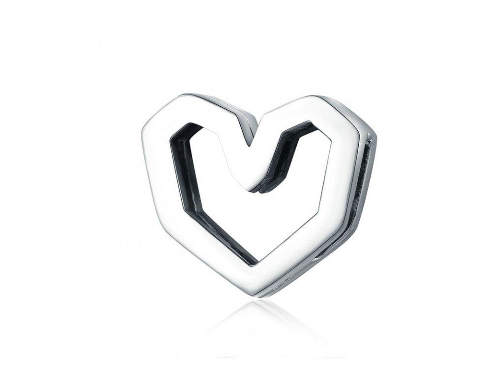 Strieborná 925 korálka štýl Pandora Reflections Geometrické srdce