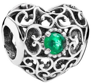 Strieborná 925 korálka štýl Pandora Srdce so zeleným očkom