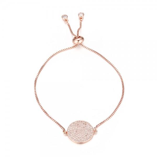 Jemný pozlátený náramok s bielym zirkónovým kruhom ružové zlato