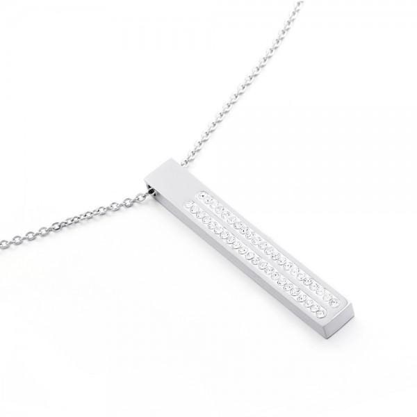 Ružovo - zlatý náhrdelník s visiacou diamtovou tabličkou