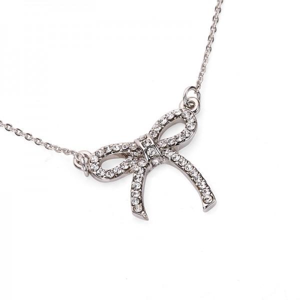 Pozlátený náhrdelník s mašličkou biele zlato