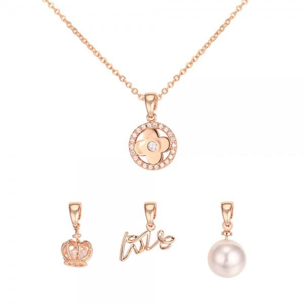 Pozlátený náhrdelník so zirkónovým kvietkom a tromi vymeniteľnými príveskami ružové zlato