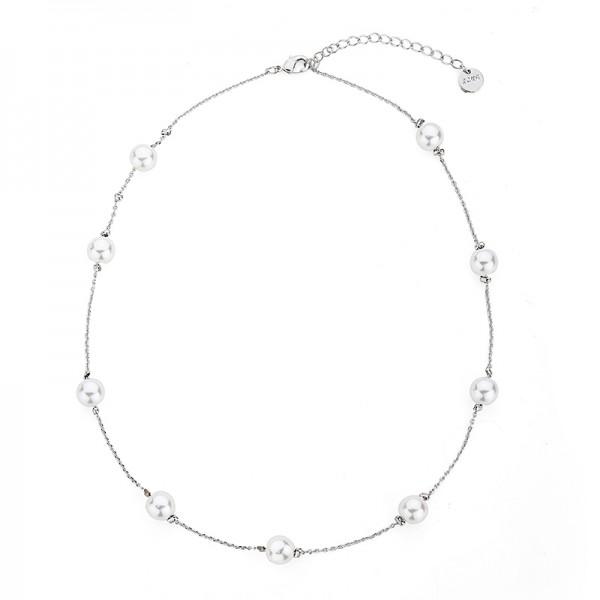 Pozlátený perlový náhrdelník biele zlato