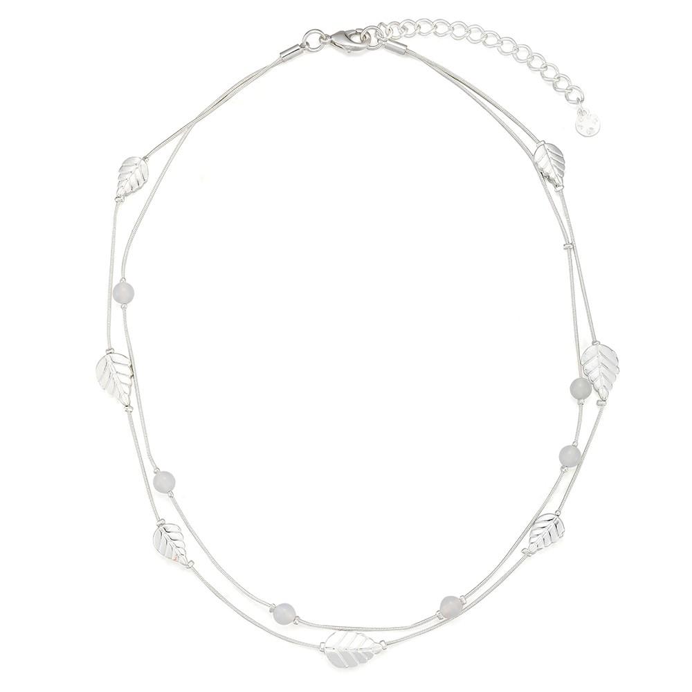 Strieborný náhrdelník s motívmi listov a prírodných kameňov