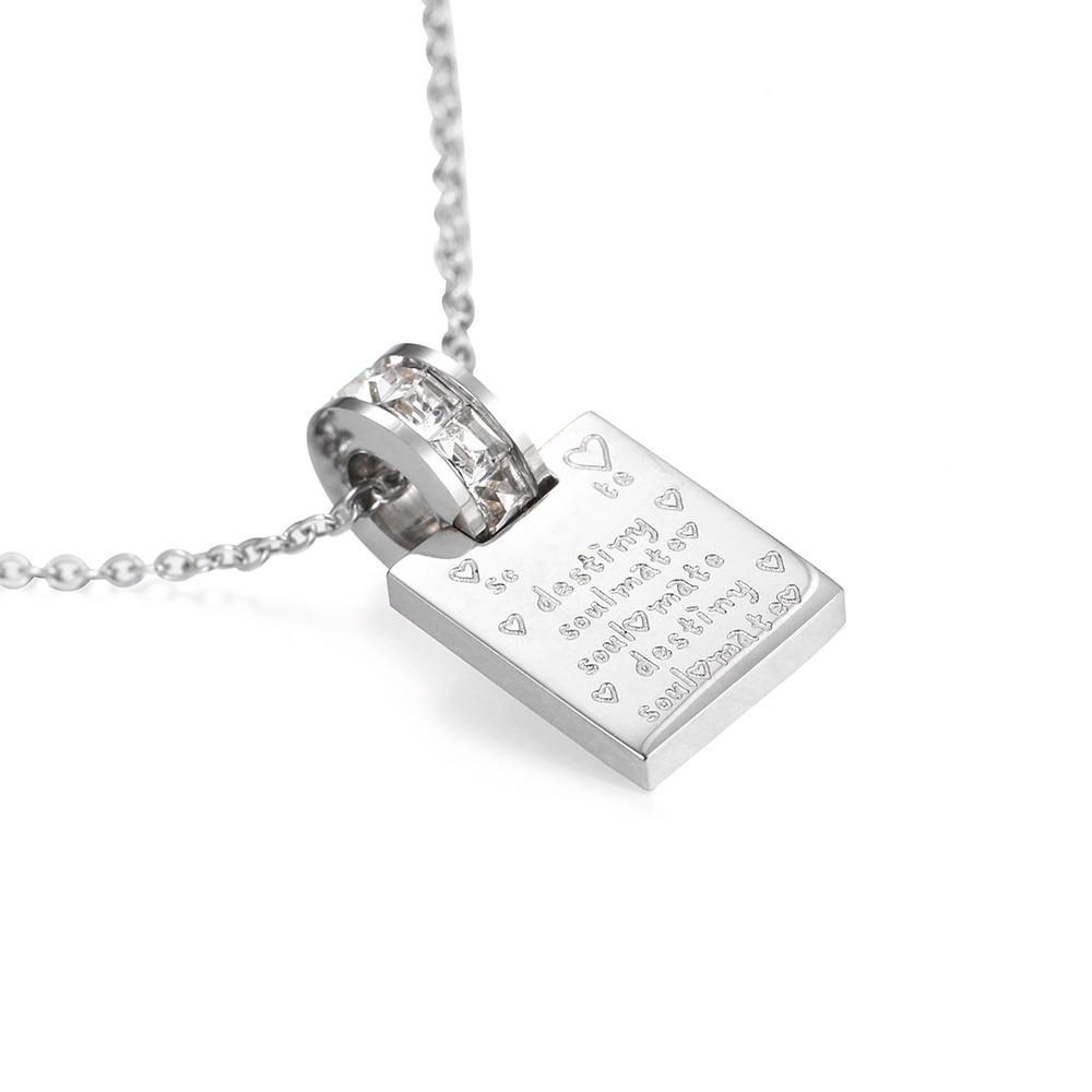 Strieborný náhrdelník z chirurgickej s motívom spriaznenej duše SOLE MATE