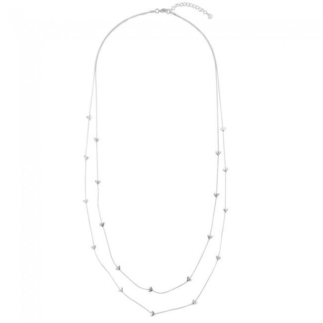 Dvojitý strieborný náhrdelník dlhý so srdiečkami