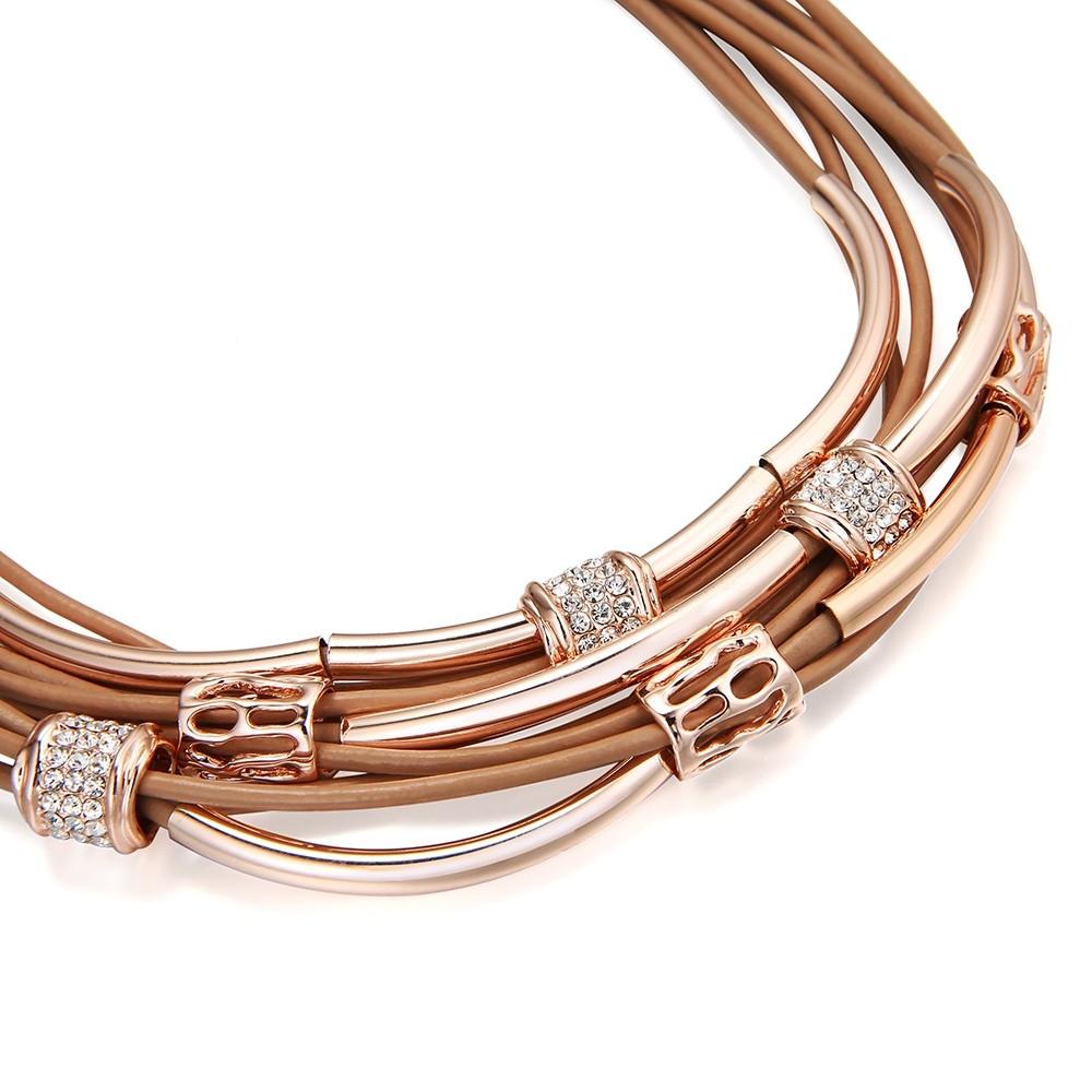 Viacvrstvový hnedý náhrdelník s ružovo - zlatými aplikáciami